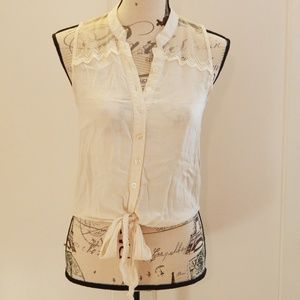 Cream Lace Sleeveless Button-Up Bow Top Sz S